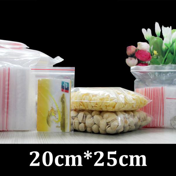 20cm 25cm food grade packaging flat resealable ziplock PE plastic clear poly bag