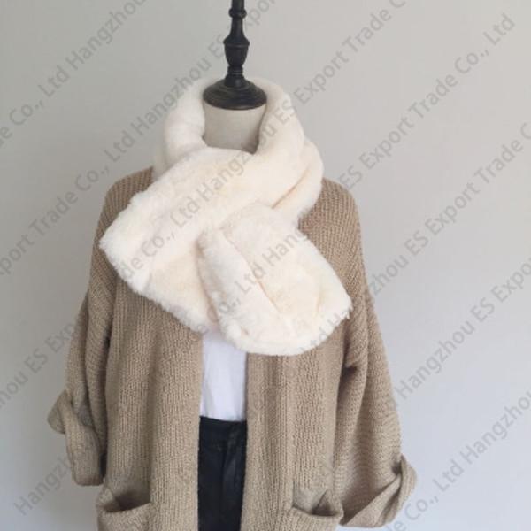 Fur Plush Imitation Rex Rabbit Hair Scarves Female Autumn And Winter Thick Shawl Fake Collar Fur Collar 90x20cm 5 Colors