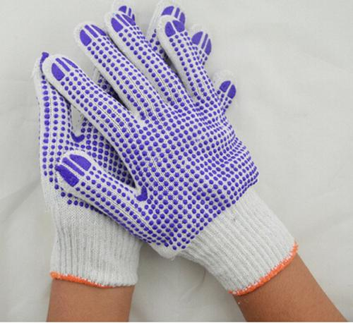 Labor Protection Equipment Hand Safety Glove Natural Cotton Protective PVC Glove Two Sides PVC Safety Glove
