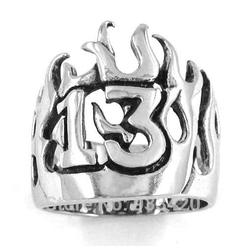 Free Shipping! Flame Lucky 13 Ring Motor Biker Ring Stainless Steel Jewelry Punk Crown Ring SWR0149B