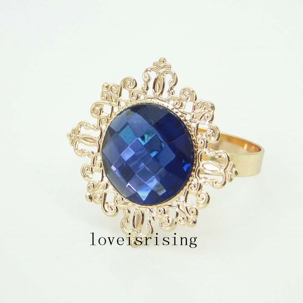 10pcs/Lot Navy Blue Color Beautiful vintage style gemstones Gold Plated Napkin Rings Wedding Bridal Shower Napkin holder-Free Shipping