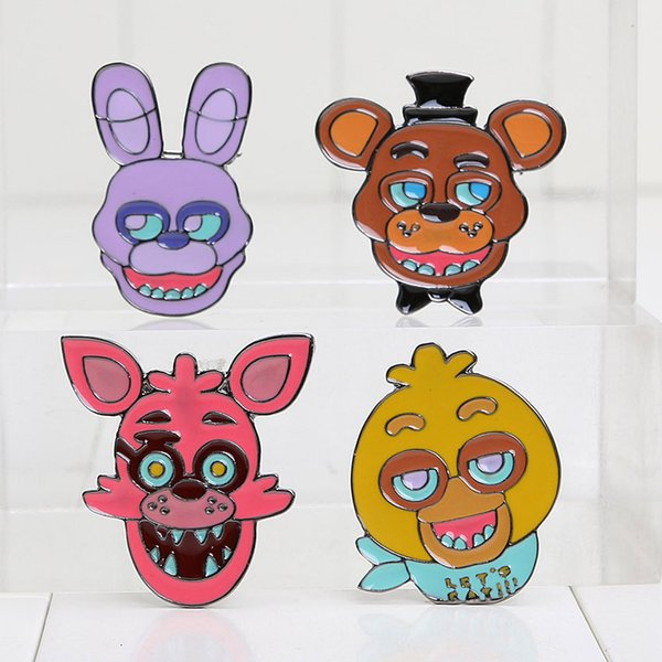 3.5*3.5cm Five Nights at Freddy's brooch FNAF Badges Freddy Bonnie Chica Foxy alloy Pins for Children gift free shipping