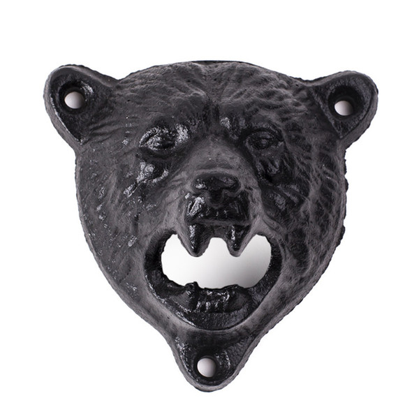 Free shipping by DHL or EMS 20 pcs cast iron bear shaped hang wall mounted opener bottle