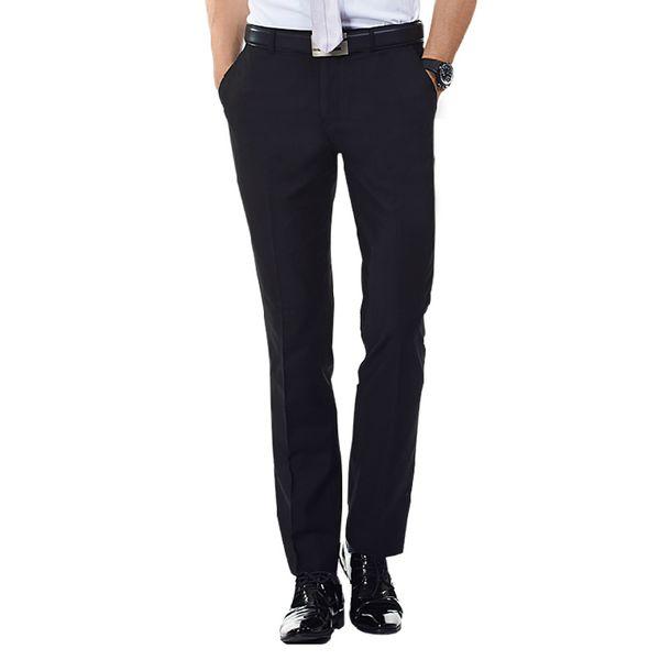Wholesale-2016 Mens Flat-Front Suit Separate Pant Black/Navy-blue Straight-fit Zipper Fly Unelastic Wrinkle-resistant Business Dress Pants