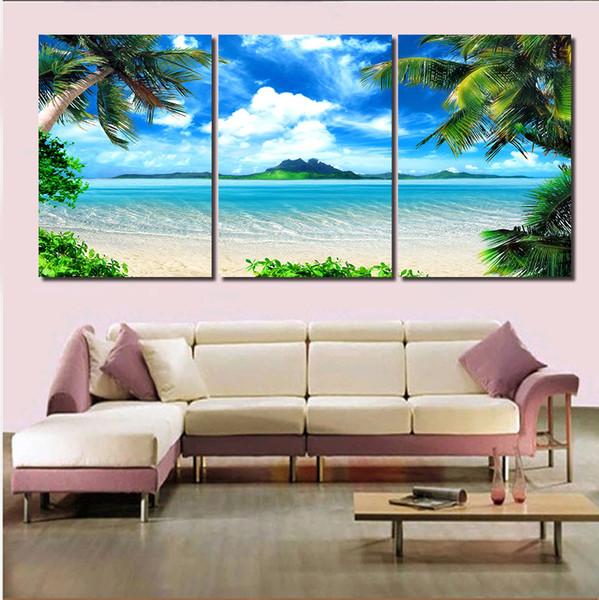 Acheter Nouveau 3 Panneau Moderne Imprime Paysage Marin Sea Wave Huile Toile Peinture Cuadros Bord De Mer Mur Art Photo Pour Le Salon Sans Cadre De