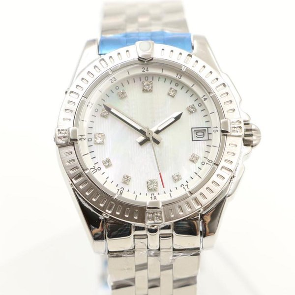 35MM Casual quartz movement women women watch watches ladies wristwatch white shell dial with date window