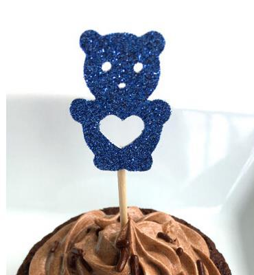 Custom glitter blue cute bear Cupcake Toppers kids boy birthday Decoration wedding birthday baby bridal Party Decoration Party Supplies