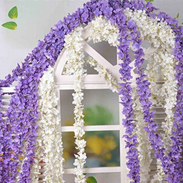 "top popular 70""(180cm) Super Long Artificial Silk Flower Hydrangea Wisteria Garland For Garden Home Wedding Decoration Supplies 6 Colors Available 2021"