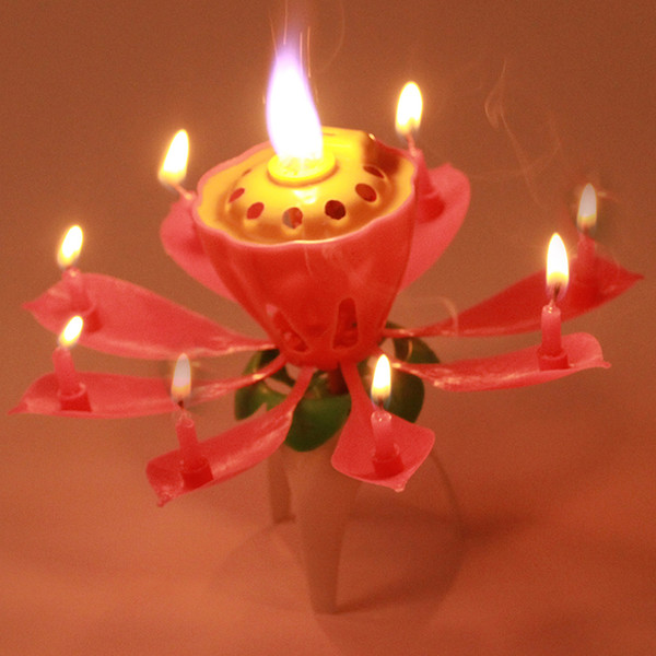Hot Sale 5PC/lot Beautiful Blossom Lotus Flower Candle Birthday Party Cake Music Sparkle Cake Topper Rotating Candle 670976