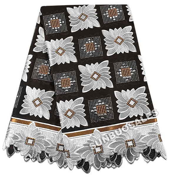 best selling The Best Smooth 100% Cotton African Lace Fabric Swiss Voile Lace Nigeria garden Clothing With Lots of stones Black White