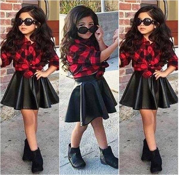 Frühling 2016 Mode 2 Teile / satz Mädchen Kinder Prinzessin Plaid Tops Shirt + Lederrock Sommer Outfits Kleidung