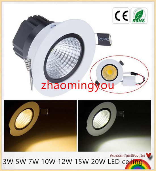 Bright Dimmable led downlight COB Ceiling Spot Lights 3W 5W 7W 10W 12W 15W 20W LED ceiling Recessed lamp 4000K Indoor Lighting