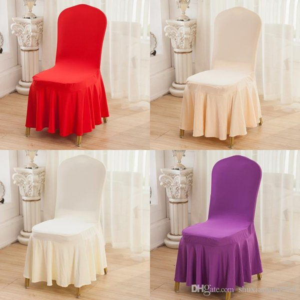 Hot Sales Scollap Chair Cover White Champagne Black Red Purple Spandex Elastic Milk Silk Chair Cover For Wedding Banquet Party Hotel Cover