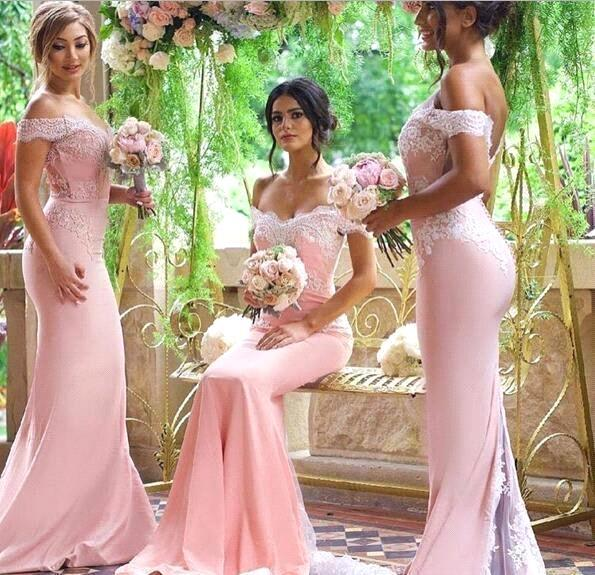 2017 New Elegant South Africa Off The Shoulder Mermaid Bridesmaid Dresses Satin Lace Applique Court Train Bridesmaid Dresses With Buttons