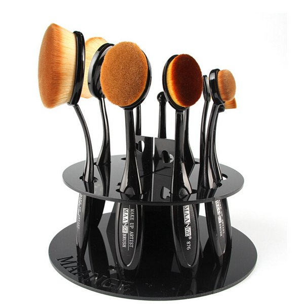 best selling Toothbrush Oval Makeup Brushes Display Holder Stand Storage Organizer Brush Showing Rack Plastic Round Acrylic Cosmetic Organizer DHL