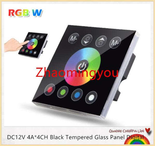 DC12V 4A * 4CH Panel de cristal templado negro Pantalla táctil digital Atenuador Home Wall Light Switch para RGBW LED tira de cinta 3 canales
