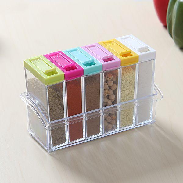 Wholesale- 6pcs/set Colorful Transparent Spice Jar Condiment Cruet Storage Box Cover with Hold Kitchen Tools Salt Case Gift T35