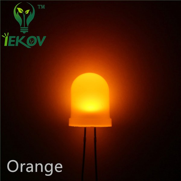 1000pcs/lot High Quality 10mm Diffused Orange/Amber LED 10MM Round top Ultra Bright LED Emitting Diodes Lamp Electronic Components Wholesale