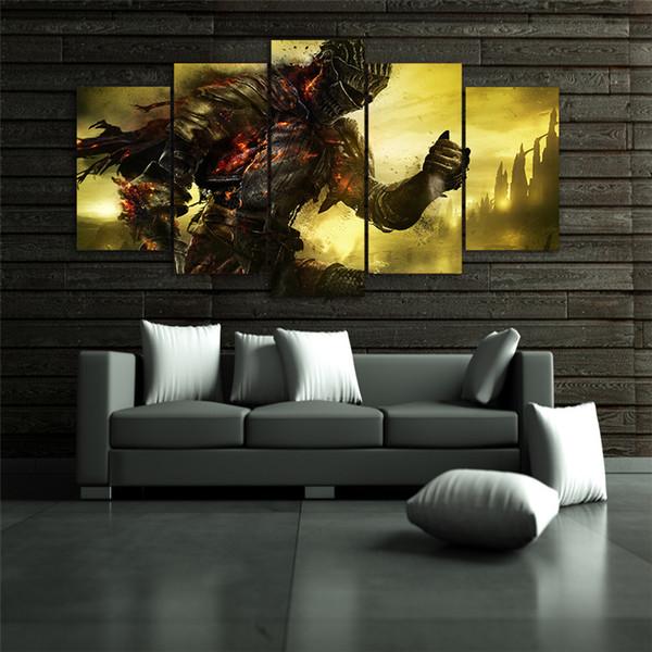 5 pannelli dark anime Modern Abstract Canvas Pittura a olio Stampa Wall Art Decor per soggiorno decorazione domestica