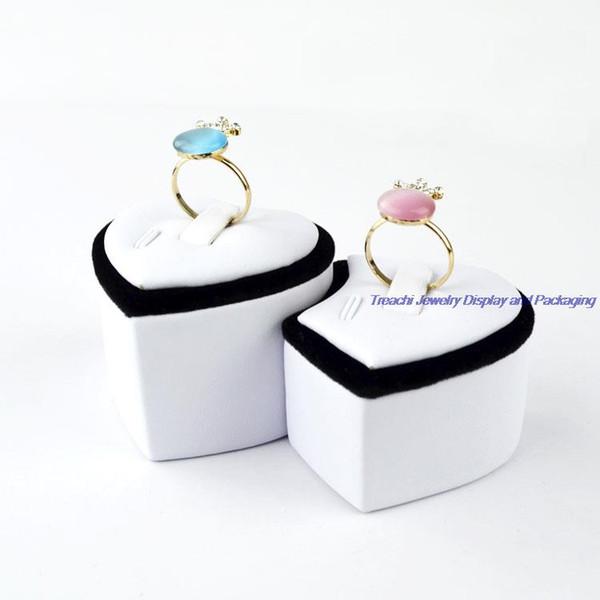 En gros 5pcs / Set classique en forme de coeur bijoux amants tour de l'anneau duo-anneau support de stand pour l'affichage de bijoux