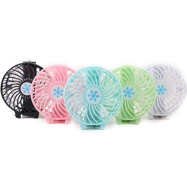 Manija ventilador USB plegable mango Mini Carga Ventiladores eléctricos portátiles de mano del copo de nieve para los regalos de Home Box Office MENOR 6 colores