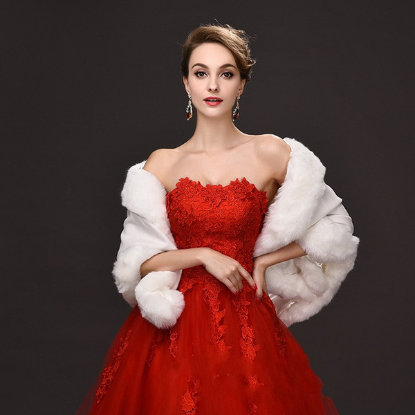 best selling 2016 Winter Bridal Fur Wraps 55cm *150 Ivory women Warm wool shawl Red  Black Lady Wraps For Special Occation Bridal Accessory