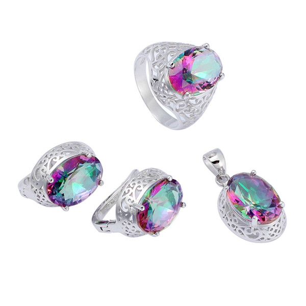 925 sterling silver Promotion heart set (ring/earring/pendant) Noble Generous S-3713set ssz#6 7 8 9 Rainbow Fire Mystic Cubic Zirconia Punk