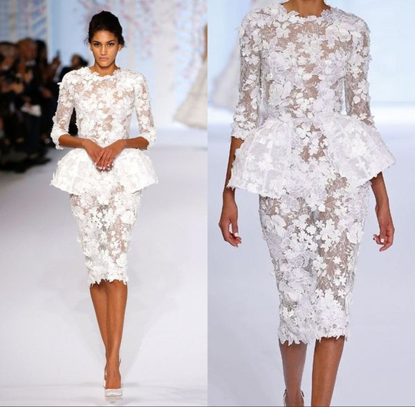 2018 White Dresses Evening Wear Long Sleeve Knee Length Short Prom Lace Floral Haute Couture Ralph Russo Peplum Sheath Formal Gowns