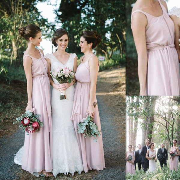Long Bridesmaid Dresses 2016 Light Blush Chiffon Scoop Wedding Party Gowns Custom Made Simple Party Dresses For Girls
