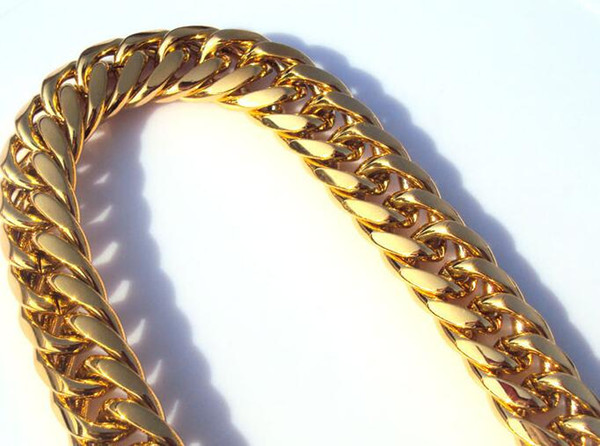 Hot sale 24K SOLID GOLD FILLED FINISH THICK MIAMI CUBAN LINK NECKLACE CHAIN