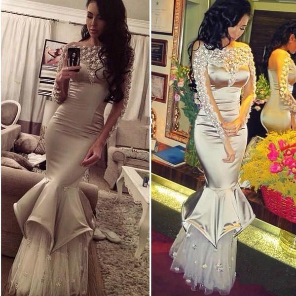 Elegant Silver Satin Long sleeves Rhinestones Mermaid Evening Dresses 2018 New Ruffled Long Formal Party Prom Dresses Robe De Soiree