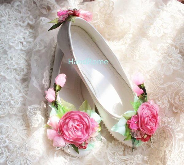 White Handmade Lace Flat Wedding Shoes Exclusive Design Spring Flower Pearls Bridal Shoes Rhinestones Comfortable Prom Shoes Size US5-US10
