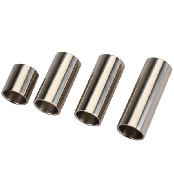 4 Pcs Stainless Steel Cylinder Tubes Guitar Slides Set Silver Pleated