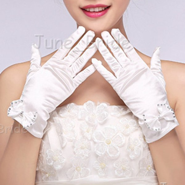 Free Shipping Short White Bow Bridal Gloves Full Finger Wrist Length High Quality Satin Wedding Party Gloves New Style