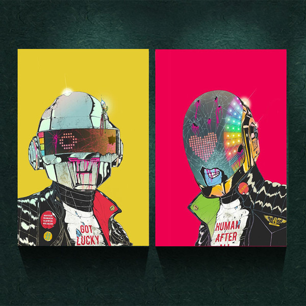2pcs Unframed Daft Punk Music Band Helmet Mask Art Print Poster ...