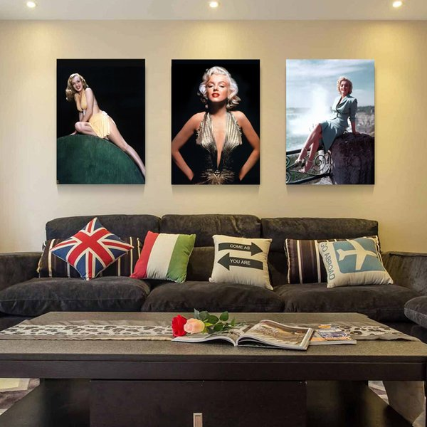 Superior Hot Sell 3 Panels Canvas Modern Triptych Wall Painting Sexy Woman Marilyn  Monroe Home Decor Art