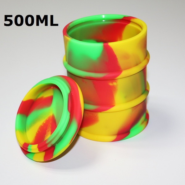 Colorful FDA approved 500ml silicone Big oil barrel drum wax vaporizer pen food grade non-stick silicone dab wax container