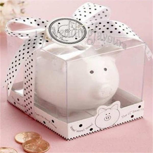 FREE SHIPPING 50PCS Li'l Saver Favors Ceramic Mini Piggy Bank in Gift Box with Polka Dot Ribbon Bow Baby Shower Kids' Party Gifts