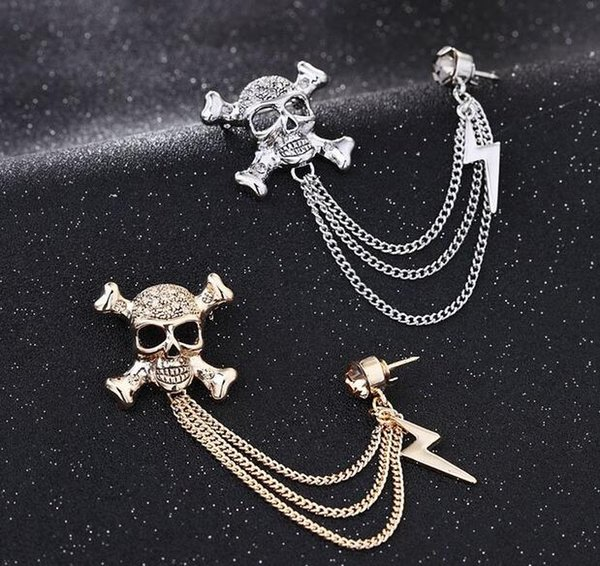Unisex Men Brooches Rhinestone Skull Skeleton Lightning Badge Chain Tassel Brooch Gift For Women Suit Accessories Lots 10 Pcs