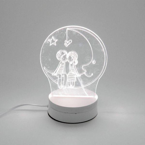 6W Lover LED Night Light AC220V Input DIY Table Lamp Laser Engraving Multi-Choice Pattern(3-Color/pcs) on Acrylic 3D Creative Light