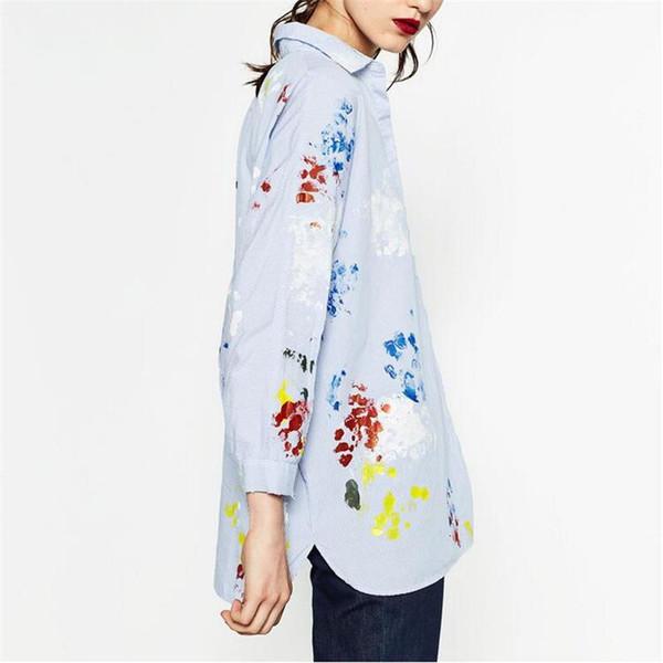 Autunno Moda Donna Camicette Graffiti Stampa Stripe Turn-down Colletto Camicia a maniche lunghe Donna Top Blusas