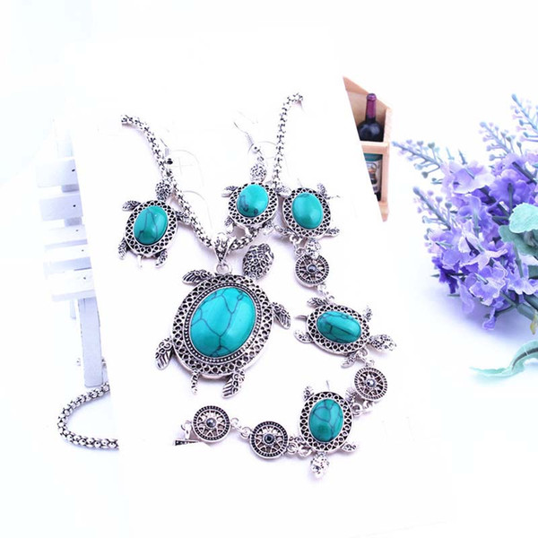 Anmial tortoise Turquoise Bracelet Earrings Necklace Sets Women Fashion Wedding Bride Party Costum African Jewelry Sets Silver Plated