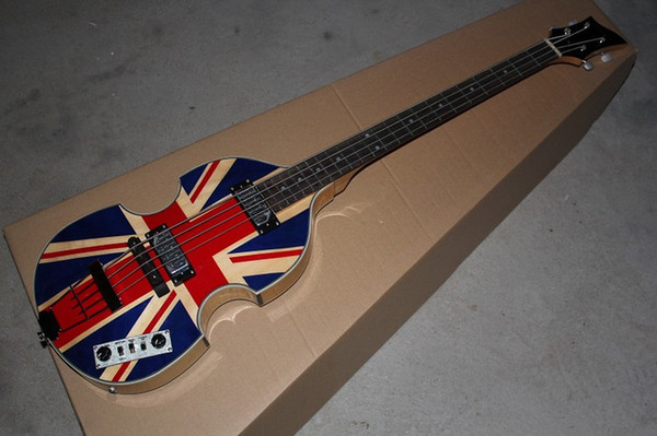 top popular McCartney Hof H500 1-CT Contemporary Violin Deluxe Bass England Flag Electric Guitar Flame Maple Top & Back 2 511B Staple Pickups 2021