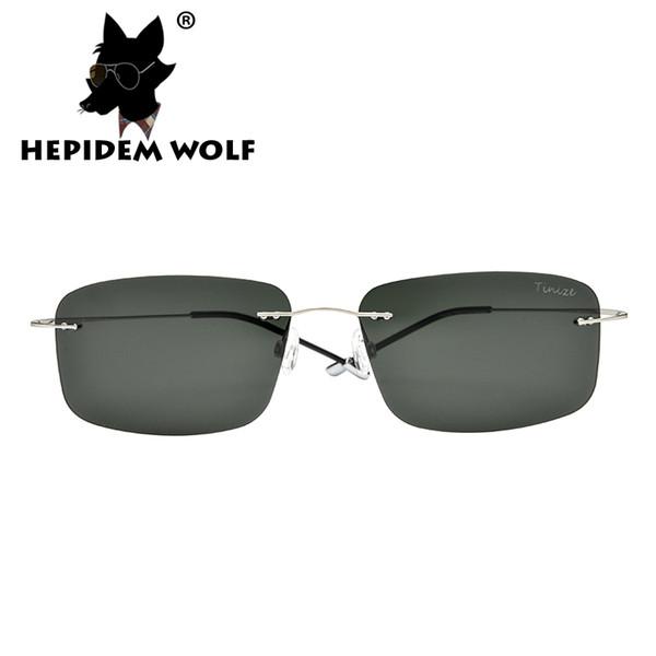 Wholesale-2016 neue quadratische Randlose Sonnenbrille Titan Männer Frauen Marke Designer Ultra Light polarisierte längliche Form Sonnenbrille 8616