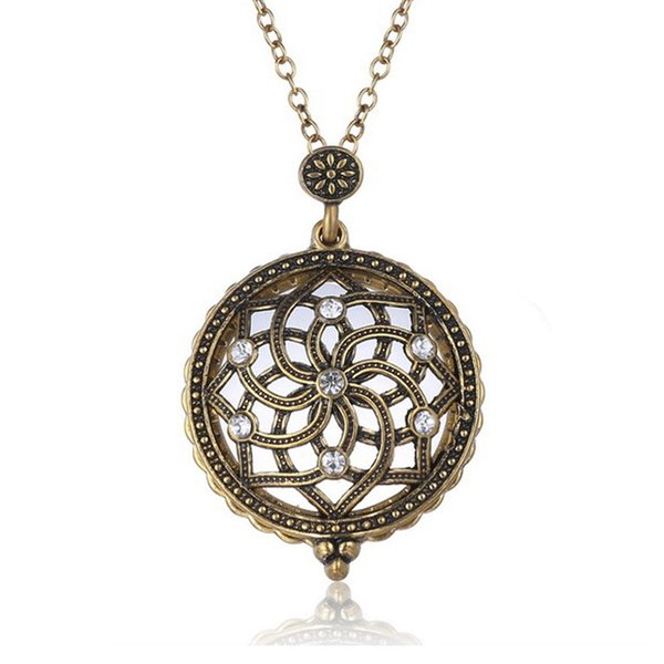 Wholesale new gold plated hollow crystal flower magnifying glass new gold plated hollow crystal flower magnifying glass pendant necklace antique design long link chain necklace mozeypictures Image collections