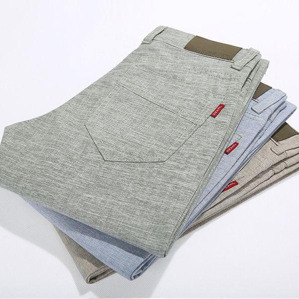 top popular Wholesale-Men's Flax Cotton Fashion joggers Men Casual Pants Men Spring Autumn Thin Pants Trousers Clothing pantalon homme 2019