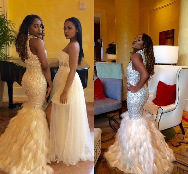 Luxury Black Girl Prom High Neck Sleeveless Heavy Beaded Sparkling Mermaid Feather Skirt Evening Dresses Wear Formal Cocktail Party Dress