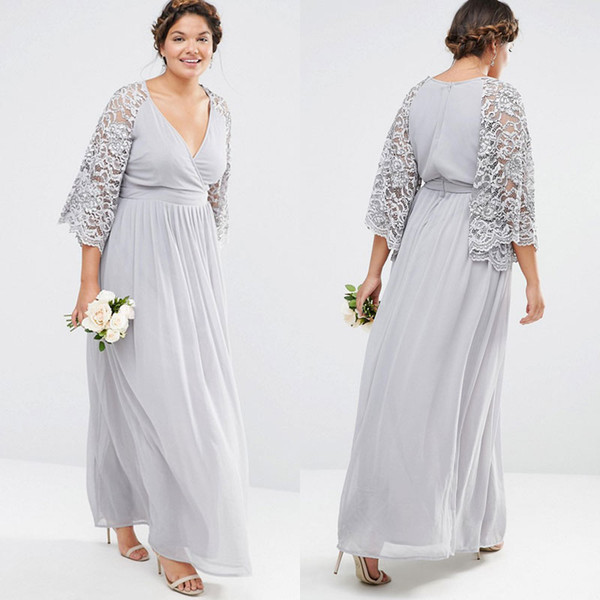 New Arrival Plus Size Bridesmaid Dresses With Lace Sleeves V Neck A Line  Prom Dress Ankle Length Chiffon Evening Gowns Plus Size Clothes Uk Plus  Size ...