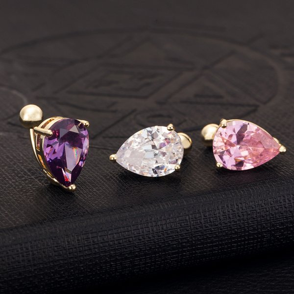 18K Yellow Gold Plated Pink/Purple/White Stone Teardrop Belly Button Ring Sexy Body Jewelry for Women