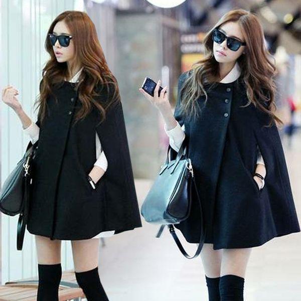 2017 Winter Fashion Loose Wool Collarless Black Shawl Cape Casaco Feminino Manteau Femme Women Woolen Coat Black Cape Coat